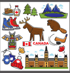 Canada touristic map with sightseeings colorful vector