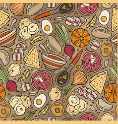 Cartoon hand-drawn russian food seamless pattern vector