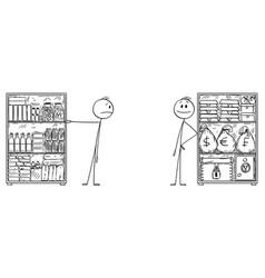 Cartoon man with stockpile food and rich vector