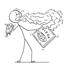 cartoon of man with fire coming out of his mouth vector image