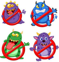 cartoon stop virus collection set vector image