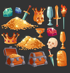 cartoon treasure chest with golden coins icons set vector image