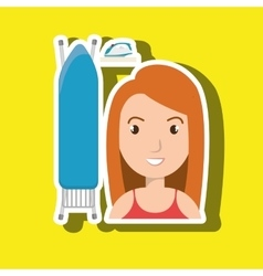 Cartoon woman board ironing clothes vector