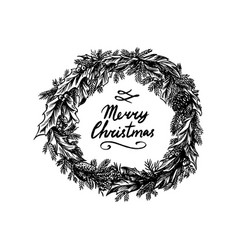 christmas wreath new year decoration coniferous vector image