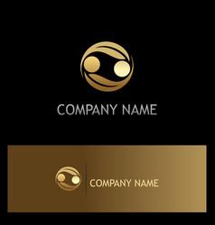 circle leaf gold abstract company logo vector image