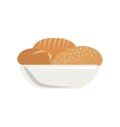 colorful silhouette dish with bread vector image