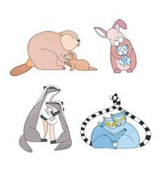 Cute animals hugs set happy hug day concept vector