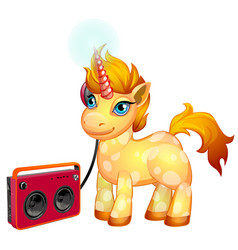 cute unicorn pony with a fiery mane listening to vector image