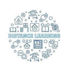 distance learning concept round linear vector image