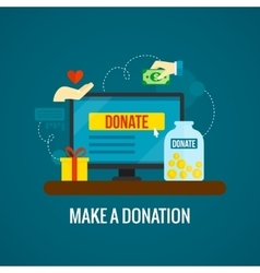 Donations online with laptop icon vector