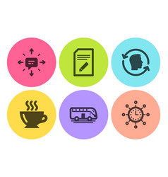 Edit document sms and coffee icons set bus tour vector