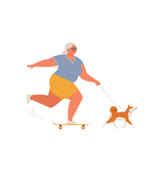 elderly woman riding skateboard or longboard with vector image