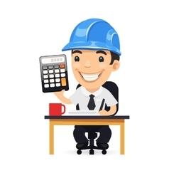 Engineer Cartoon Character with Calculator vector