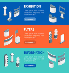 exhibition stands 3d banner horizontal set vector image
