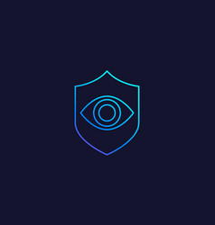 eye and shield line icon vector image