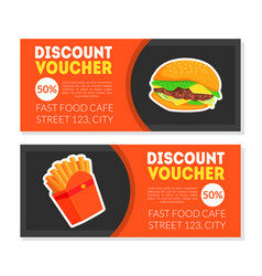 Fast food discount voucher templates set vector