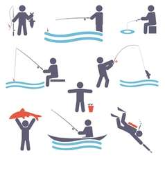 Fishing symbols vector image