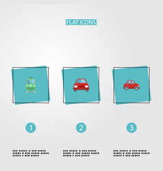 flat icons car metro automobile and other vector image