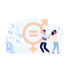 Gender equality concept happy female and male vector