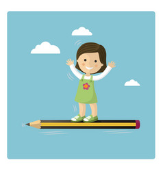 girl flying in a pencil through the sky vector image