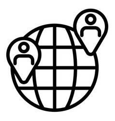 Globe with locations people icon outline style vector