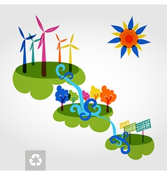 Go green city wind mills trees solar panels and vector image