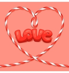 Greeting card with heart from rope concept can be vector