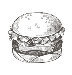 hand drawn hamburger vector image
