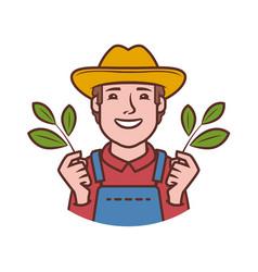 Happy farmer logo agriculture farming natural vector