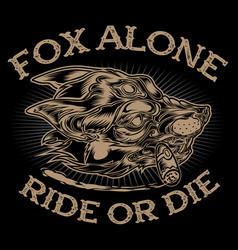 head fox alone cigar club motocye vintage vector image