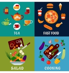 Healthy and fast food flat icons vector
