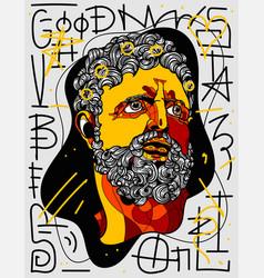 Hercules portrait sculpture graffiti style with vector