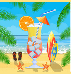 huge glass with exotic cocktail vector image
