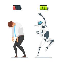 human businessman vs robot vector image