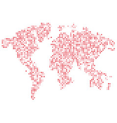 isolated pink color worldmap of dots on white vector image