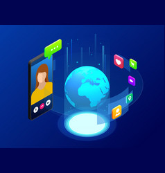 isometric concept of world global communication vector image