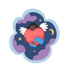 kid dreams sweet dream cloud with cute angel vector image
