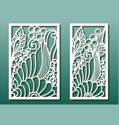 laser cut panels with floral pattern die vector image