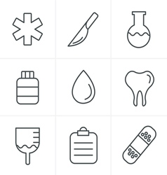 Line Icons Style Medical icons set of health and m vector