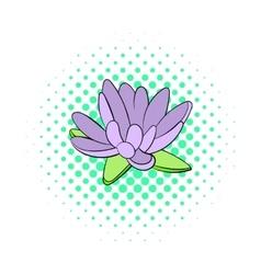 Lotus flower icon comics style vector image