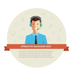 Male manager help banner vector