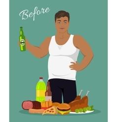 Man before weight loss near junk food vector