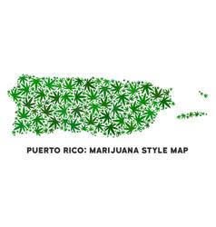 Marijuana composition puerto rico map vector