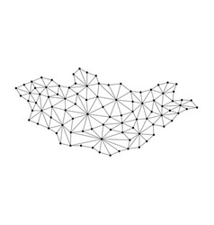 Mongolia map of polygonal mosaic lines network vector