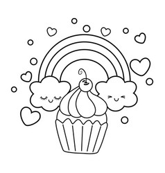 Muffin and rainbow black and white vector