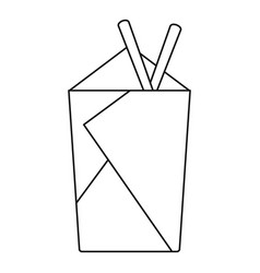 Noodle box with chopsticks icon outline style vector