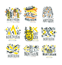 Nothern set for label design winter vacations vector