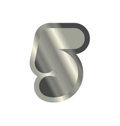 number 5 steel metal font five silver alphabet vector image