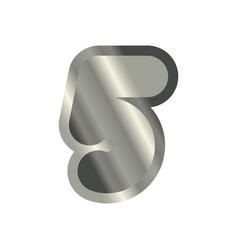 Number 5 steel metal font five silver alphabet vector