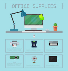 Office supplies poster group computer equipment vector